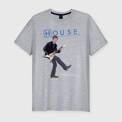 Мужская футболка премиум с принтом Доктор Хаус с гитарой, вид спереди #2