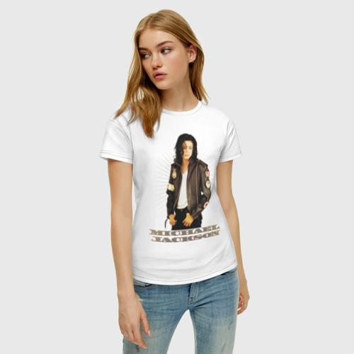 Женская футболка с принтом Michael Jackson (4), фото на моделе #1