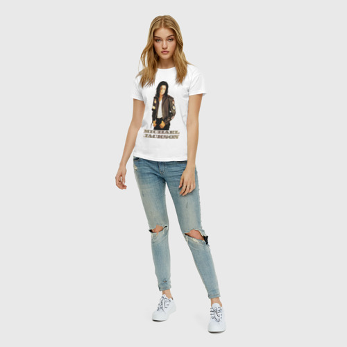 Женская футболка с принтом Michael Jackson (4), вид сбоку #3