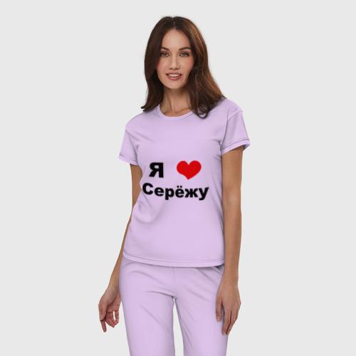 Женская пижама хлопок с принтом Я люблю Серёжу, фото на моделе #1