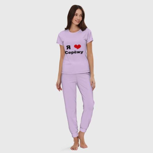 Женская пижама хлопок с принтом Я люблю Серёжу, вид сбоку #3