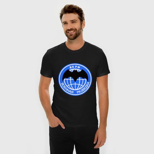 Мужская футболка премиум с принтом ВС РФ Военная разведка, фото на моделе #1