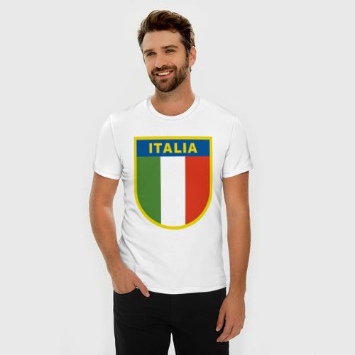Мужская футболка премиум с принтом Италия, фото на моделе #1