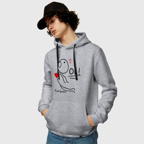 Мужская толстовка-худи с принтом Магнит для сердца (мужская), фото на моделе #1