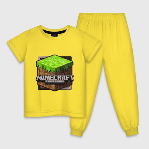 Детская пижама с принтом Minecraft logo, вид спереди #2