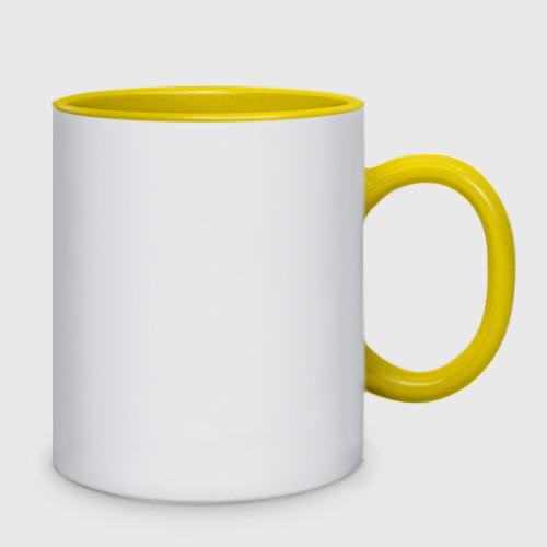 Кружка двухцветная с принтом Серый Pikachu, вид сзади #1