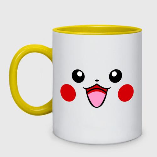 Кружка двухцветная с принтом Серый Pikachu, вид спереди #2