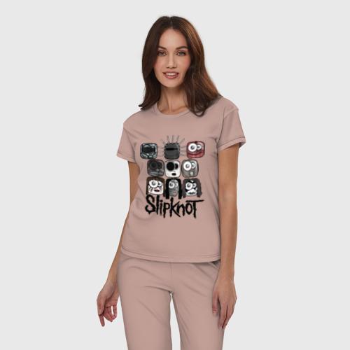 Женская пижама хлопок с принтом Slipknot masks, фото на моделе #1