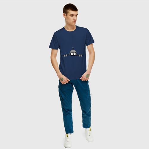 Мужская футболка с принтом Bender из-под футболки, вид сбоку #3