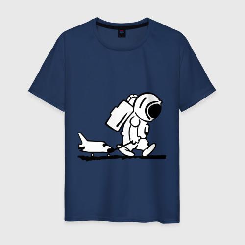 Мужская футболка Ребенок космонавт с шаттлом