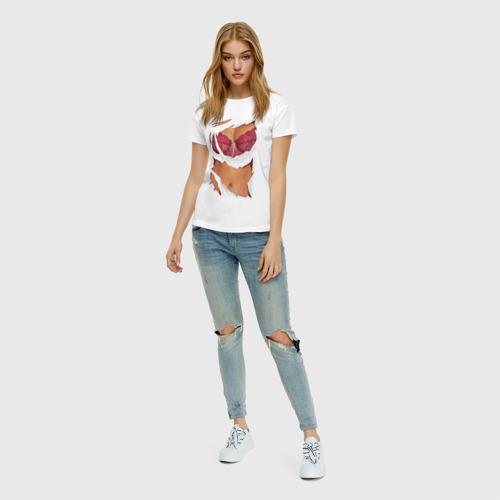 Женская футболка с принтом Идеальный бюст, вид сбоку #3