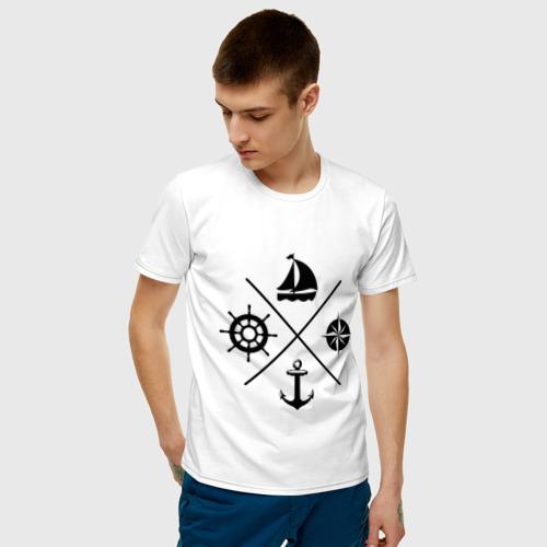 Мужская футболка с принтом Sailor theme, фото на моделе #1
