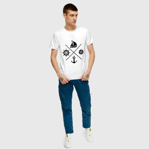 Мужская футболка с принтом Sailor theme, вид сбоку #3