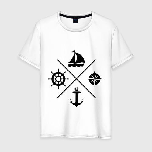 Мужская футболка с принтом Sailor theme, вид спереди #2
