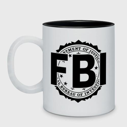 Кружка двухцветная с принтом FBI LOGO, вид спереди #2