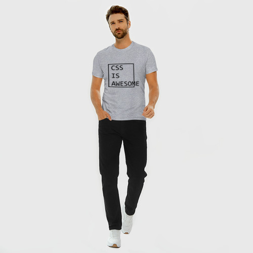 Мужская футболка премиум с принтом CSS is awesome, вид сбоку #3