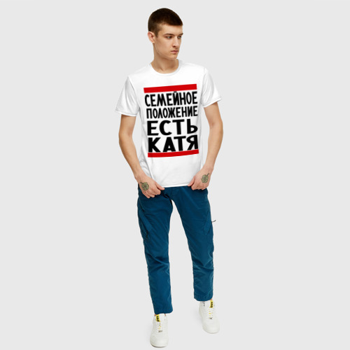 Мужская футболка с принтом Есть Катя, вид сбоку #3