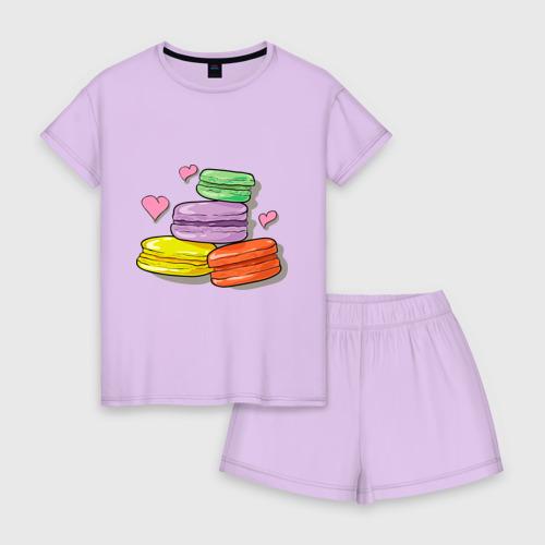 Женская пижама с шортиками хлопок Макароне