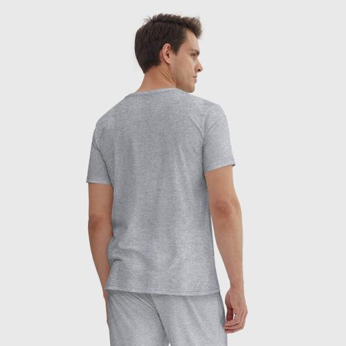 Мужская пижама хлопок с принтом Вежлив, добр, свой, вид сзади #2