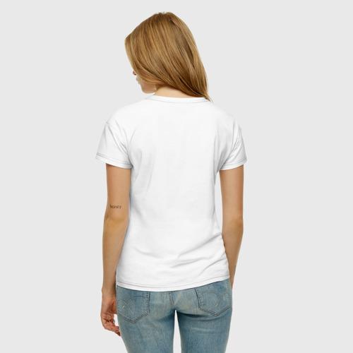 Женская футболка с принтом Иду причинять добро, вид сзади #2