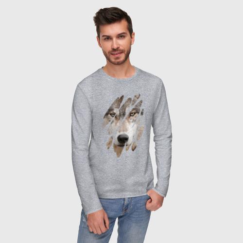Мужской лонгслив с принтом Волк - моё второе Я, фото на моделе #1
