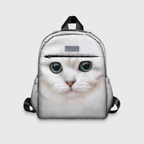 Детский рюкзак 3D с принтом Белый котик, вид спереди #2