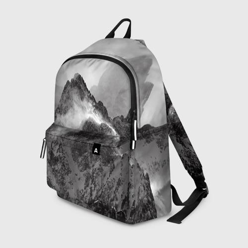 Рюкзак 3D с принтом Горы, вид спереди #2