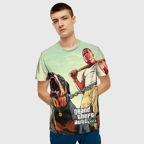 Мужская 3D футболка с принтом GTA, фото на моделе #1