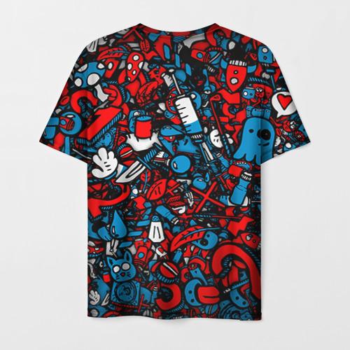 Мужская 3D футболка с принтом Стикербомбинг, вид сзади #1