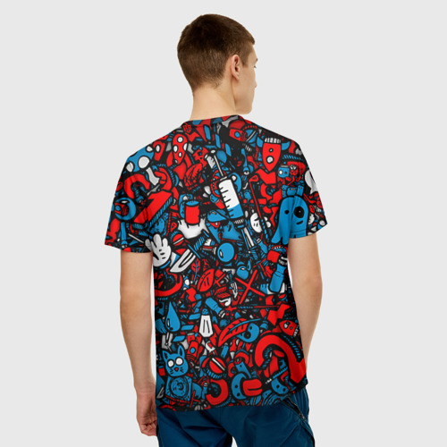 Мужская 3D футболка с принтом Стикербомбинг, вид сзади #2