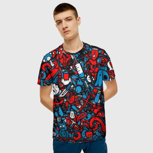 Мужская 3D футболка с принтом Стикербомбинг, фото на моделе #1