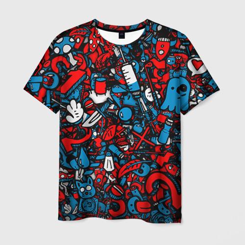 Мужская 3D футболка с принтом Стикербомбинг, вид спереди #2