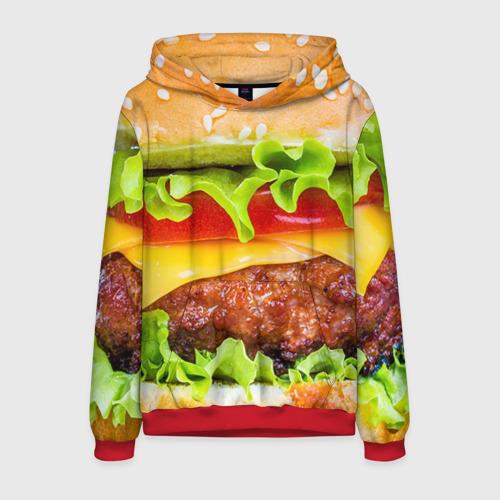 Мужская 3D толстовка с принтом Гамбургер, вид спереди #2