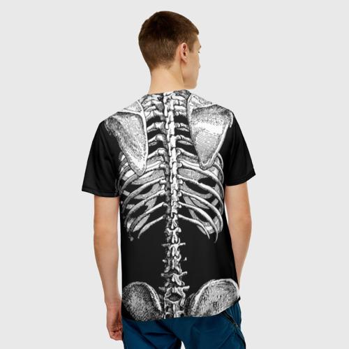 Мужская 3D футболка с принтом Скелет с сердцем, вид сзади #2