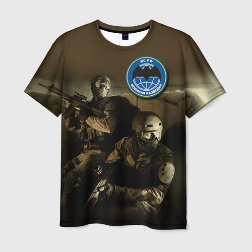 Мужская 3D футболка с принтом Военная разведка, вид спереди #2