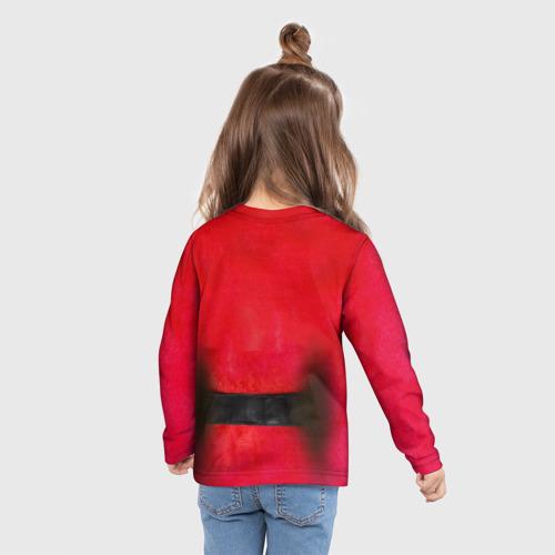 Детский лонгслив 3D с принтом Дед мороз, вид сзади #2