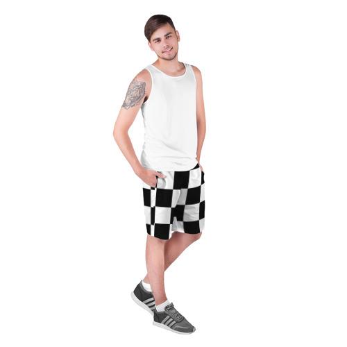 Мужские шорты 3D с принтом Клетка, фото на моделе #1