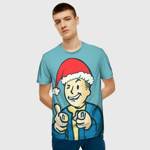 Мужская 3D футболка с принтом Новогодний Fallout, фото на моделе #1