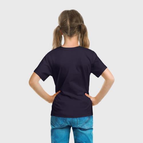 Детская 3D футболка с принтом Аниме девочка со снеговиком, вид сзади #2
