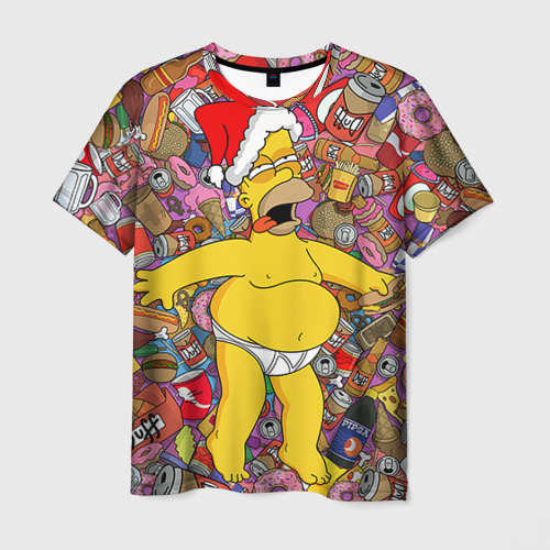 Мужская 3D футболка Обжора Гомер
