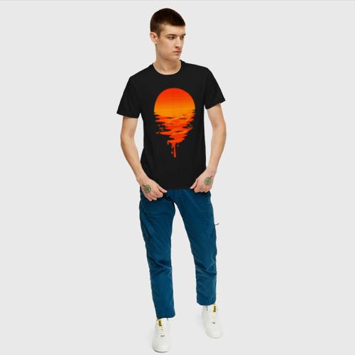 Мужская футболка с принтом Sunset, вид сбоку #3