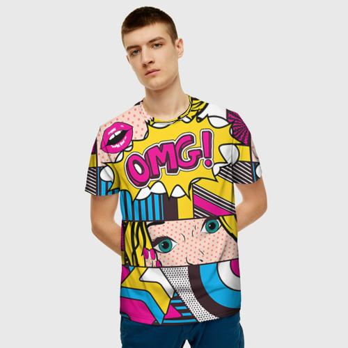 Мужская 3D футболка с принтом POP ART, фото на моделе #1