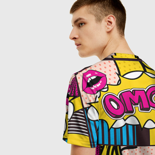 Мужская 3D футболка с принтом POP ART, вид сзади #2