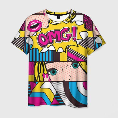Мужская 3D футболка с принтом POP ART, вид спереди #2