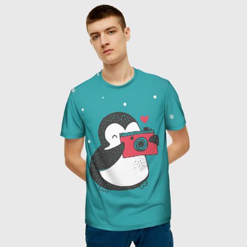 Мужская 3D футболка с принтом Пингвин с фотоаппаратом, фото на моделе #1