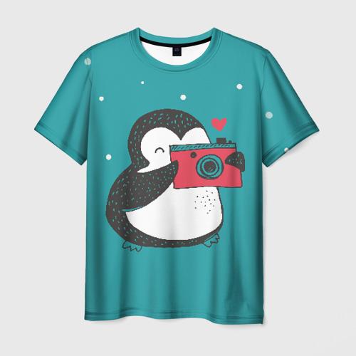 Мужская 3D футболка с принтом Пингвин с фотоаппаратом, вид спереди #2