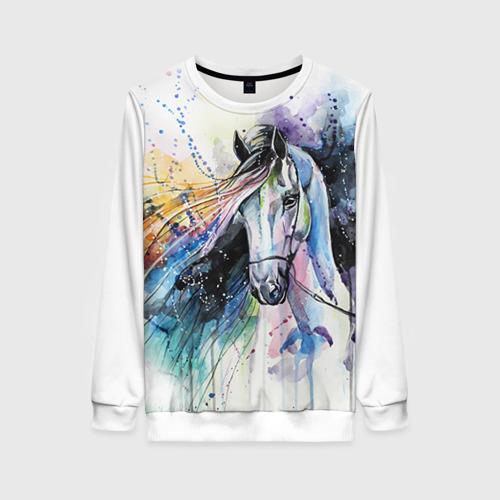 Женский 3D свитшот с принтом Лошадь Арт 3, вид спереди #2