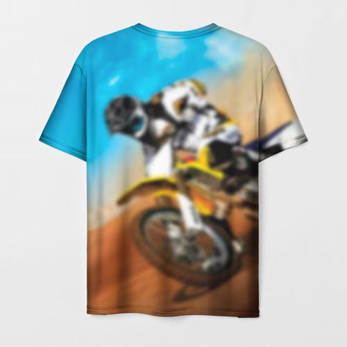 Мужская 3D футболка с принтом Эндуро, вид сзади #1