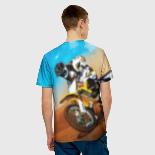 Мужская 3D футболка с принтом Эндуро, вид сзади #2