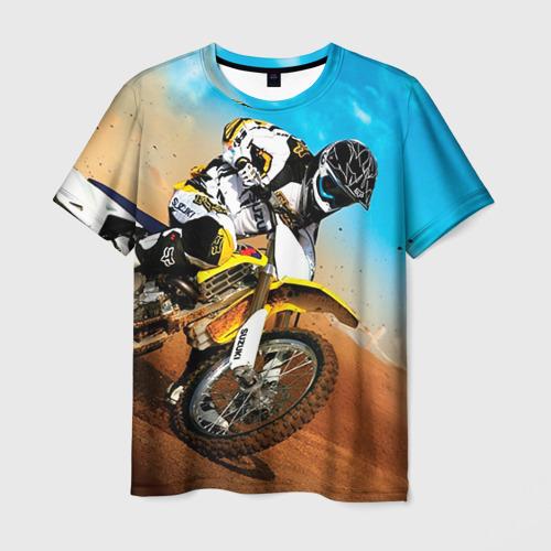 Мужская 3D футболка с принтом Эндуро, вид спереди #2